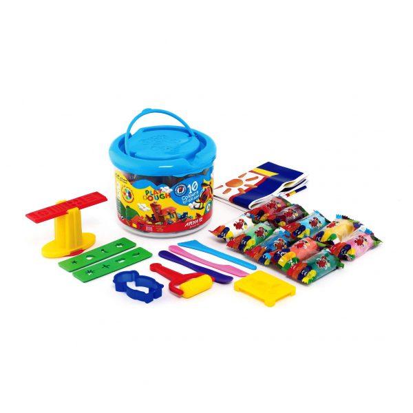 بازی سطلی 10 رنگ آریا 600x600 - خمیر بازی سطلی 10 رنگ آریا