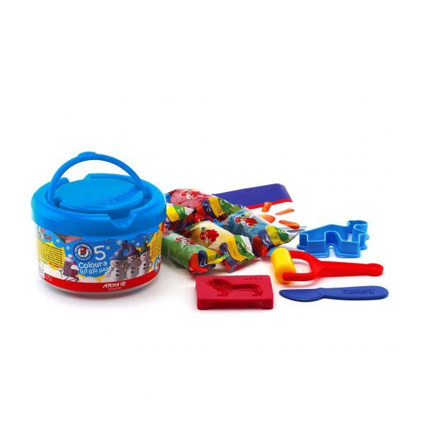 بازی سطلی 5 رنگ آریا 600x600 - خمیربازی سطلی 5 رنگ آریا