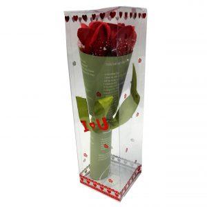 هدیه ولنتاین دسته گل عاشقانه ( جعبه طلقی گل پاپیون دار )