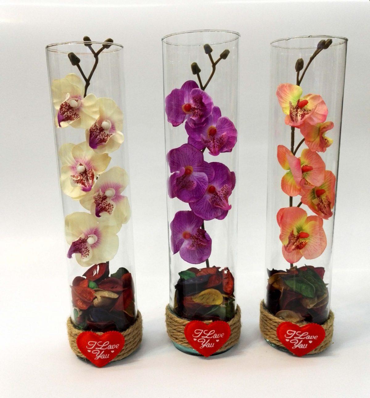 گل شیشه استوانه ای ولنتاین (گلدان گل سه شاخه)