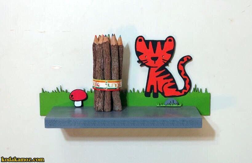 شلف چوبی دیواری کودکانه طرح ببر