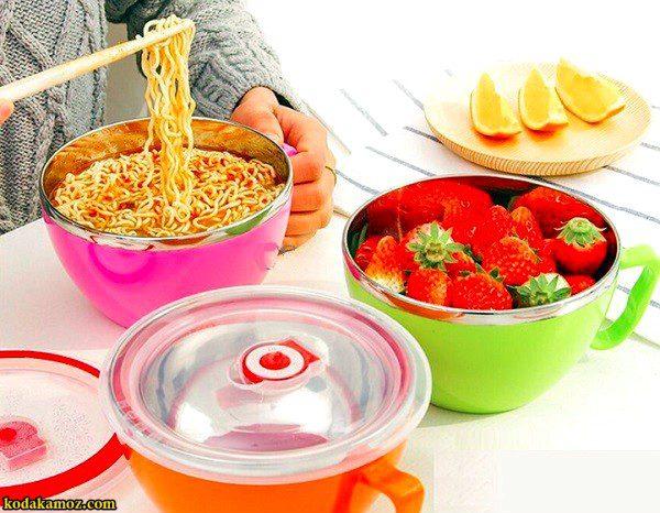 ظرف غذا داخل استیل دسته دار