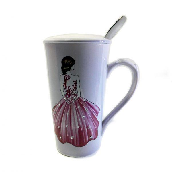 ماگ فنجانی دربدار طرح دار سرامیکی (ماگ طرح عروس)