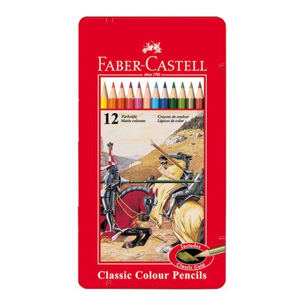 مدادرنگی کلاسیک – جعبه فلزی 12 رنگ فابرکاستل