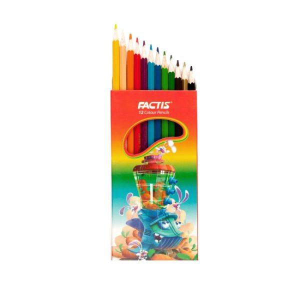 مداد رنگی 12 مقوایی فکتیس