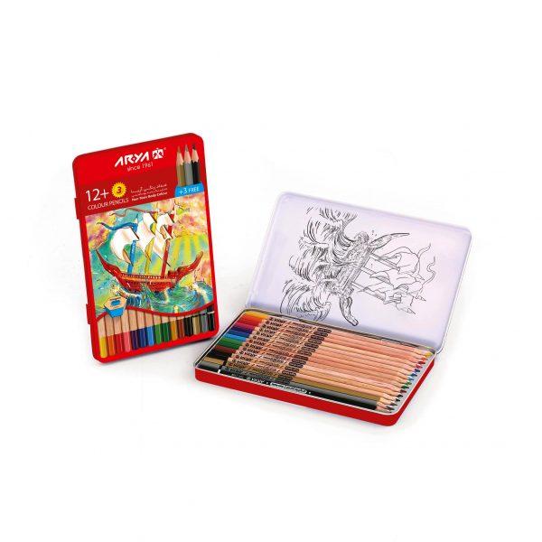 مداد رنگی12رنگ جعبه فلزی آریا