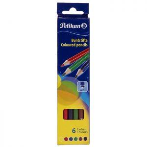 مداد رنگی ۶ مقوایی پلیکان