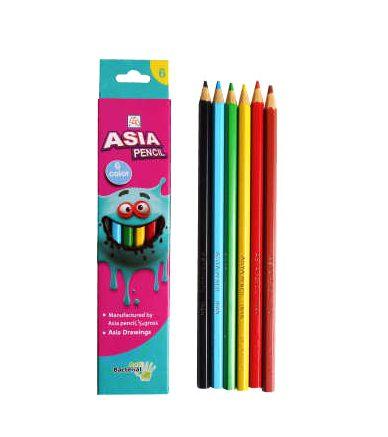 مداد رنگی 6 مقوایی آسیا
