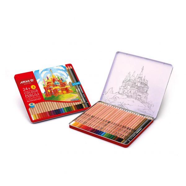 مداد رنگی 24 رنگ جعبه فلزی آریا