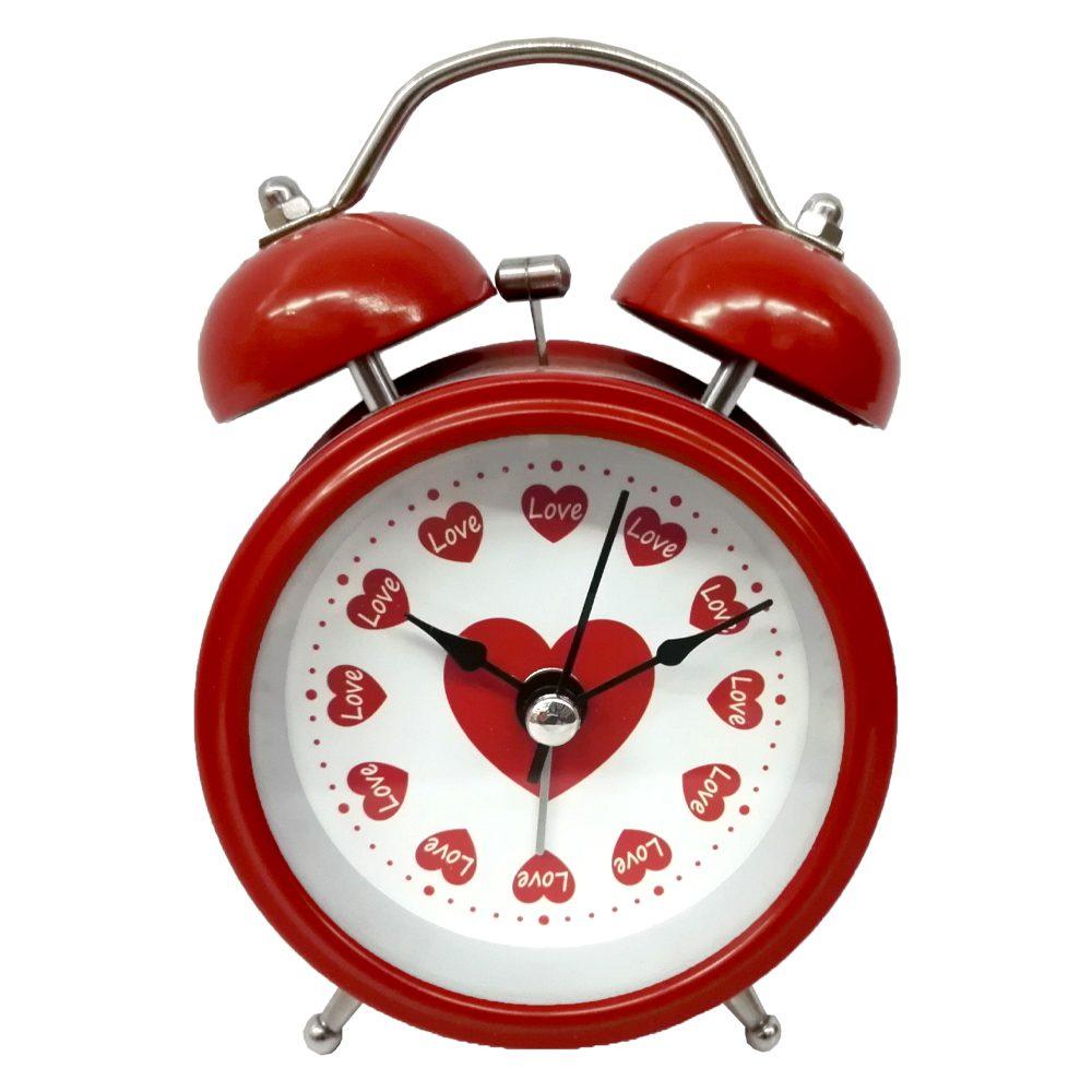 ساعت فلزی زنگ دار قلب قرمز