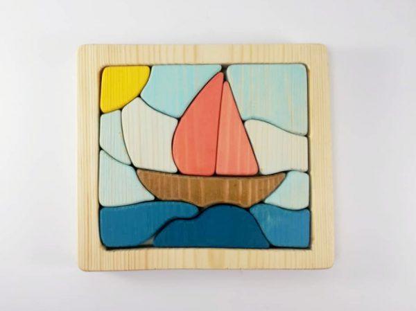پازل چوبی سه بعدی طرح قایق